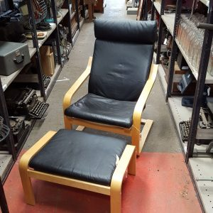 Beech and Black Leather Chair and Stool