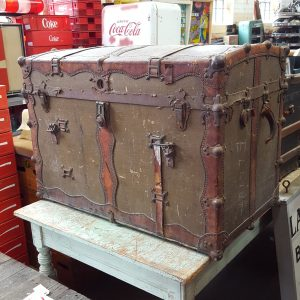 Large Leather Bound Travel Trunk