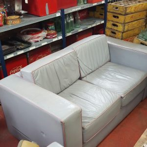 Grey and Pink Two Seater Sofa