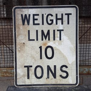 American Weight Limit 10 Tons Road Sign
