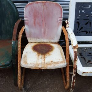 Original Faded Red Metal Lawn Chair