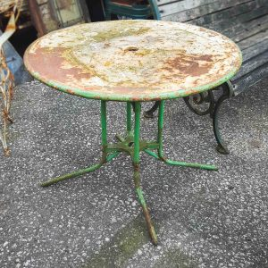 Vintage Green and White Metal Garden Table