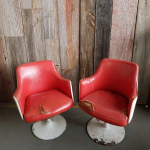 Pair of 1960'S Red Swivel Chairs