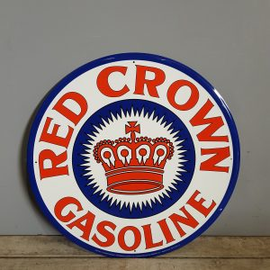 Vintage Style Round Metal Red Crown Sign