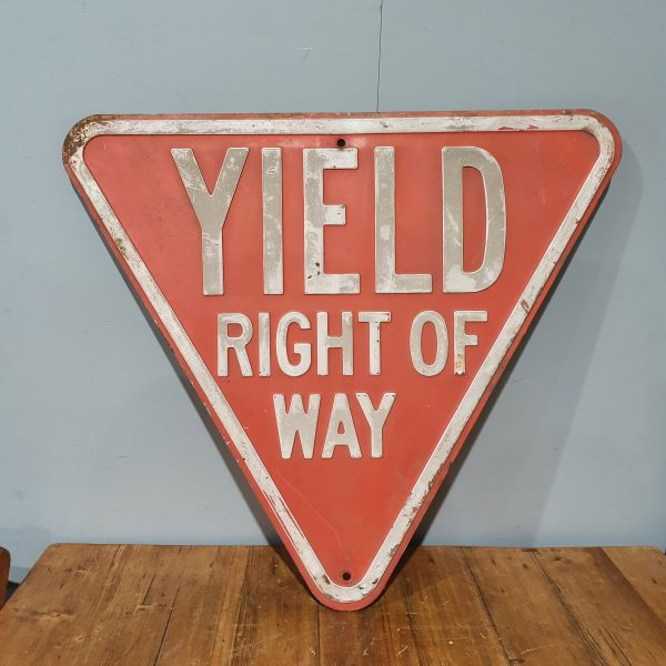American Red Yield Right of Way Road Sign