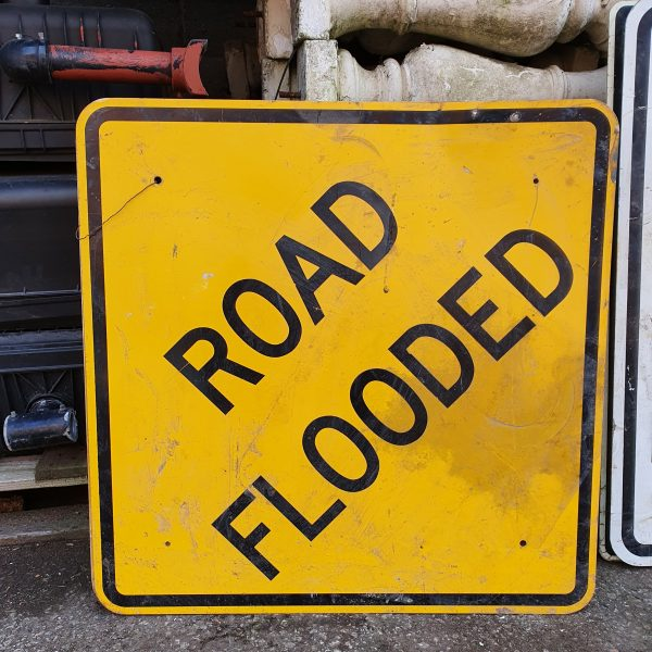 US Road Sign Flooded