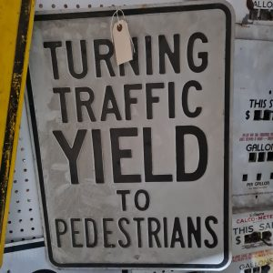 American Turning Traffic Yield to Pedestrians Road Sign