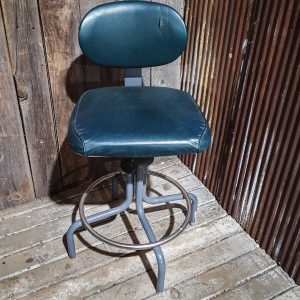 Vintage Industrial Metal and Leather Chair Stool