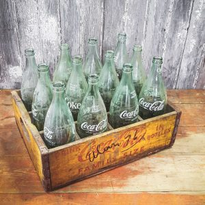 Vintage American Coca Cola Crate and Bottles