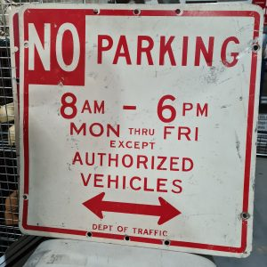 American No Parking 8am-6pm Road Sign
