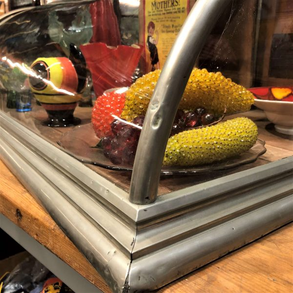 Early 20th Century Curved Glass Nickel Countertop Display Case