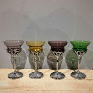 Art Deco Chrome & Coloured Glass Goblets
