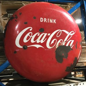 Vintage 2ft Drink Coca Cola Enamel Button Sign