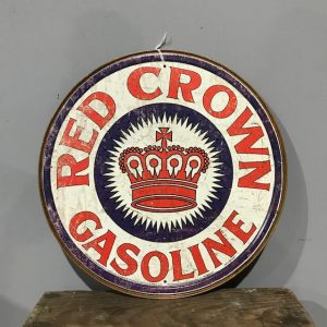 Vintage Style Red Crown Gasoline Sign
