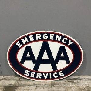 Original Vintage Enamel AAA Sign