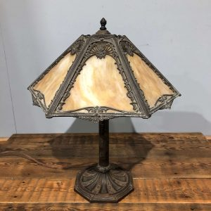 Antique 6 Panel Slag Glass Metal Filigree Table Lamp