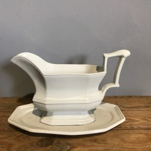 Red Cliff Ironstone Sauce Boat and Plate