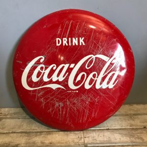 Vintage 2ft Drink Coca Cola Enamelled Button Sign