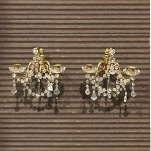 Pair of Gilt Crystal Sconces