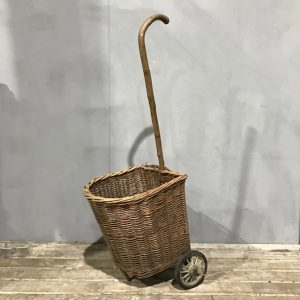 Vintage Wicker Shopping Basket On Wheels