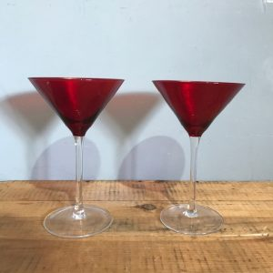 Pair of Red Martini Glasses