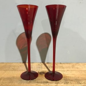 Pair Of Red Champagne Flute Glasses