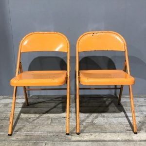 Orange Metal Folding Chairs