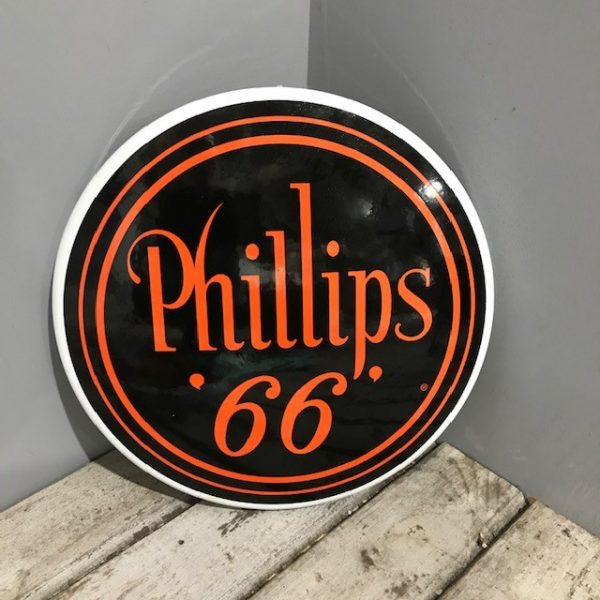 Large Vintage Style Round Metal Phillips Button Sign