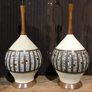Pair Of Mid-Century Danish Style Textured Lamp Bases
