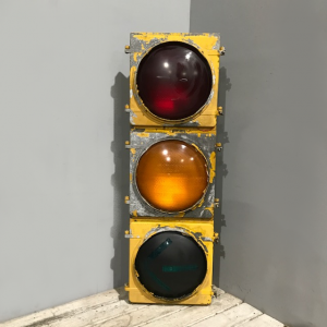 Original American Yellow Metal Traffic Lights