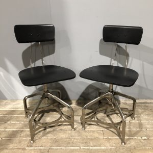 Pair Of Black Industrial Toledo Style Chairs