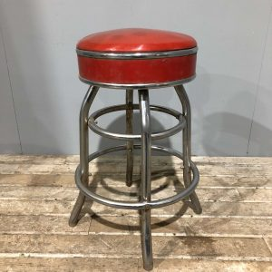 Red American Vintage Bar Diner Stool