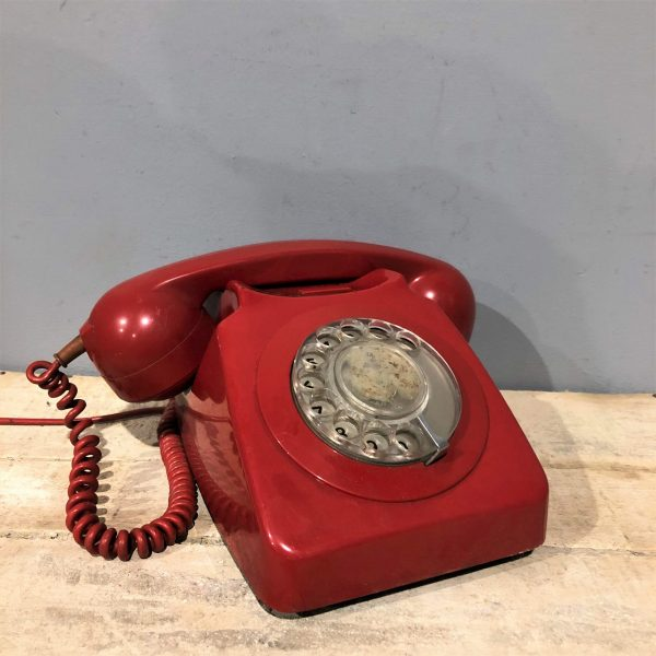 Red Rotary Dial Telephone Vintage