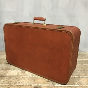 Tan Brown Mid Century Suitcase