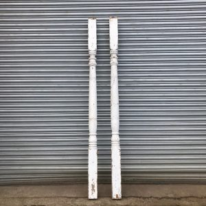 Pair Of Reclaimed White Wooden Veranda Posts