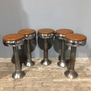 Vintage American Tan Fountain Diner Bar Stools