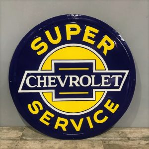 Vintage Style Round Metal Chevrolet Service Sign