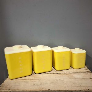 Yellow Lustroware Kitchen Canister Set