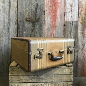 Winship Vintage Striped Suitcase